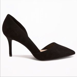 OLD NAVY Black D'orsay Suede Pointy Pumps Heels